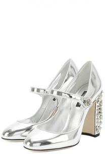 Туфли Vally из металлизированной кожи на каблуке с декором Dolce & Gabbana