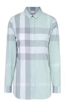 Хлопковая блуза прямого кроя в клетку Burberry