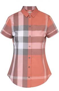 Приталенная блуза в клетку с коротким рукавом Burberry