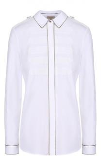 Блуза прямого кроя с погонами и металлизированной отделкой Burberry