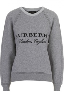 Свитшот свободного кроя с круглым вырезом и логотипом бренда Burberry