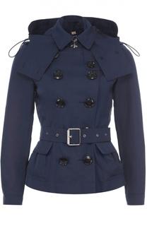 Укороченная двубортная куртка с поясом и капюшоном Burberry