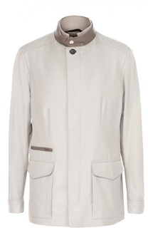 Куртка из смеси хлопка и шелка с отделкой из натуральной кожи Brioni