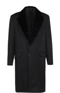 Однобортное пальто из смеси шерсти и кашемира с меховой отделкой воротника Brioni