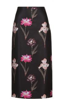 Юбка-миди с контрастным цветочным принтом Rochas