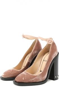 Бархатные туфли на каблуке с заклепками No. 21