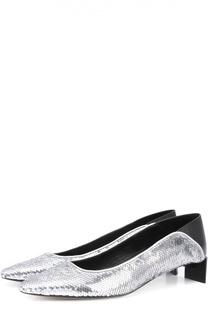 Туфли с пайетками на фигурном каблуке Loewe