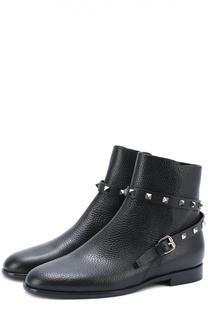 Кожаные ботинки Rockstud с ремешком Valentino