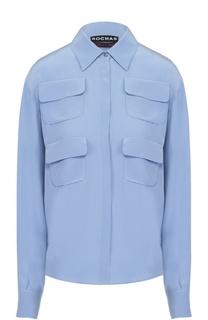 Шелковая блуза прямого кроя с накладными карманами Rochas