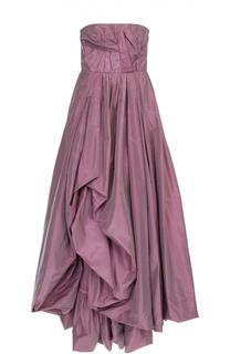 Шелковое платье-бюстье с подолом и драпировкой Oscar de la Renta