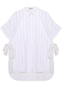 Блуза прямого кроя с удлиненной спинкой и бантами Emilio Pucci