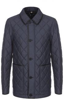 Утепленная шелковая куртка с отделкой из натуральной кожи Burberry