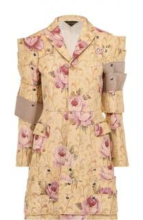 Приталенное пальто с декоративной отделкой и цветочным принтом Comme des Garcons