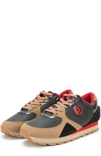 Комбинированные кроссовки с логотипом бренда Armani Jeans