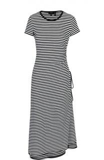 Платье-миди в контрастную полоску с коротким рукавом Theory