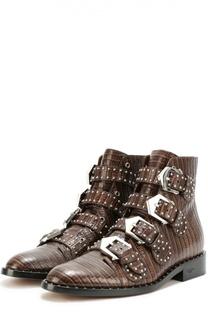 Кожаные ботинки с ремешками и заклепками Givenchy