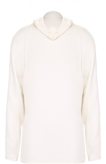 Шелковая блуза прямого кроя с декоративной отделкой Theory