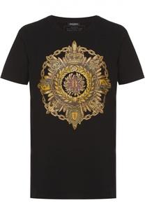 Хлопковая футболка с принтом Balmain