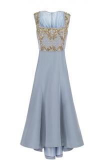 Шелковое платье в пол с контрастной вышивкой бисером и кристаллами Oscar de la Renta
