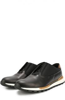 Кожаные кроссовки на шнуровке с контрастной отделкой задника Berluti