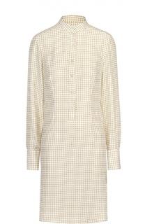 Шелковое платье-рубашка с воротником-стойкой Kiton
