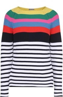 Пуловер в контрастную полоску с открытой спиной MRZ