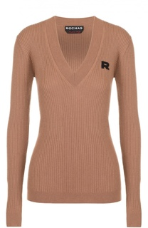 Пуловер фактурной вязки с V-образным вырезом Rochas