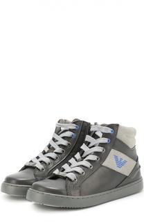 Высокие кожаные кеды на шнуровке Giorgio Armani