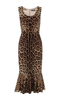 Шелковое платье с юбкой годе и леопардовым принтом Dolce & Gabbana