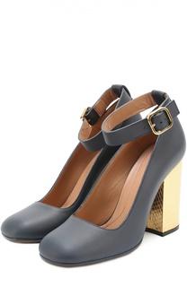 Кожаные туфли на каблуке с отделкой из кожи питона Marni