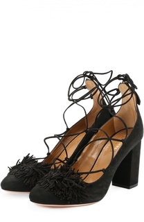 Туфли Wild с бахромой на шнуровке Aquazzura