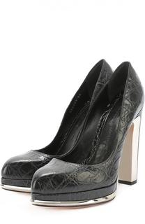 Туфли из фактурной кожи на устойчивом каблуке Alexander McQueen