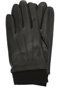Кожаные перчатки с шерстяной подкладкой и манжетами BOSS