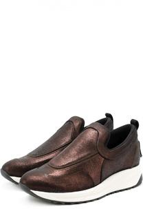 Кожаные кроссовки на контрастной подошве Maison Margiela