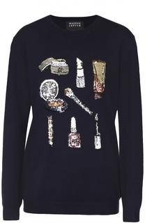 Пуловер прямого кроя с вышивкой пайетками Markus Lupfer