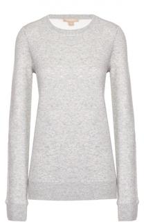 Кашемировый пуловер фактурной вязки с круглым вырезом Michael Kors