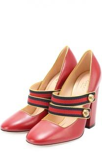 Кожаные туфли Carly с декорированными ремешками Gucci