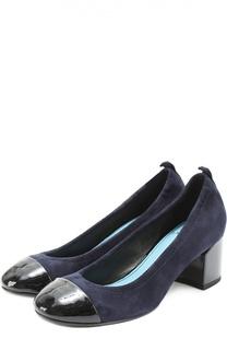 Замшевые туфли с лаковым мысом Lanvin
