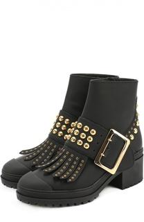 Кожаные ботинки с бахромой и заклепками Burberry