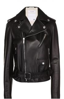 Укороченная кожаная куртка с косой молнией Valentino