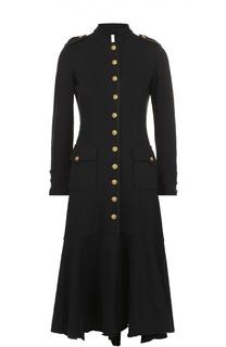 Приталенное пальто асимметричного кроя контрастными пуговицами Denim&Supply by Ralph Lauren