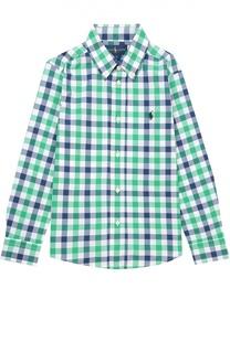 Хлопковая рубашка с воротником button down Polo Ralph Lauren
