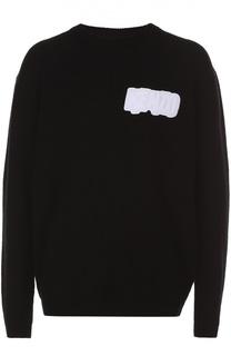 Шерстяной свитер с контрастной нашивкой Kenzo