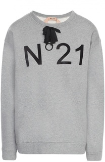 Свитшот прямого кроя с контрастной надписью No. 21