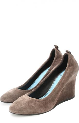 Замшевые туфли на танкетке Lanvin