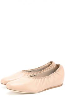 Кожаные балетки с эластичной вставкой Lanvin