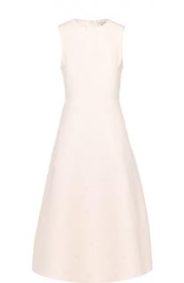 Приталенное платье-миди с фактурной цветочной отделкой Valentino