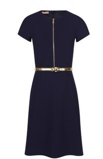 Приталенное платье с коротким рукавом и контрастным поясом Michael Kors