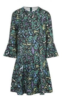 Шелковое мини-платье с укороченным рукавом и контрастным принтом Valentino
