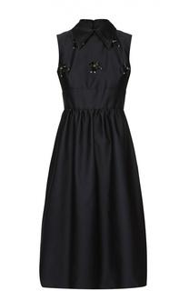 Приталенное платье-миди с декоративной отделкой No. 21